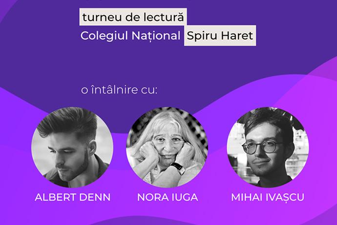 """Nora Iuga, Albert Denn și Mihai Ivașcu la Colegiul Național """"Spiru Haret"""" din București"""